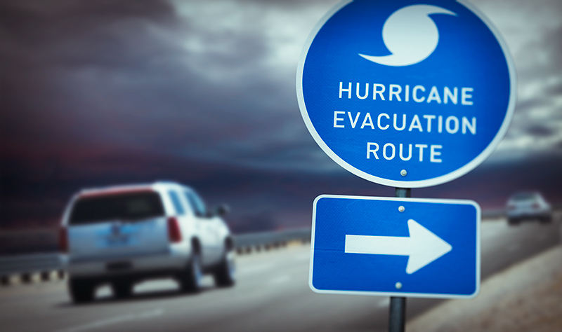 Hurricane evacuation route sign on highway