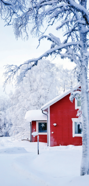 A red house in a snowy landscape.