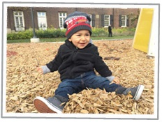 Toddler sitting in pile of leaves laughing