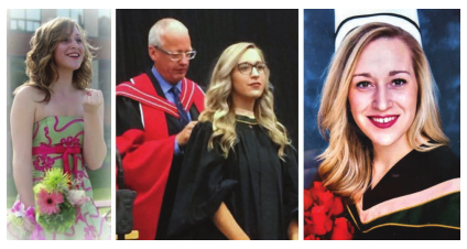 Three pictures of woman with flowers and in her graduation gown