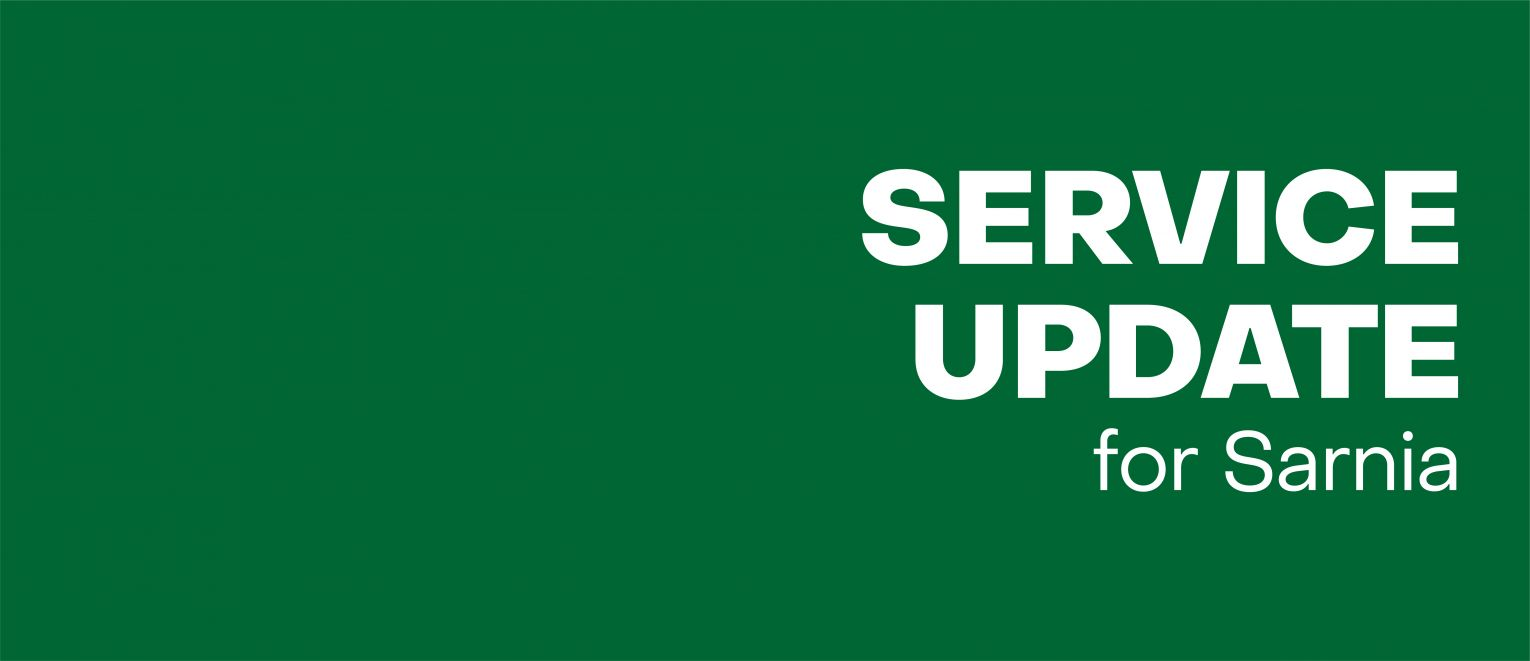Text: Service update for Sarnia