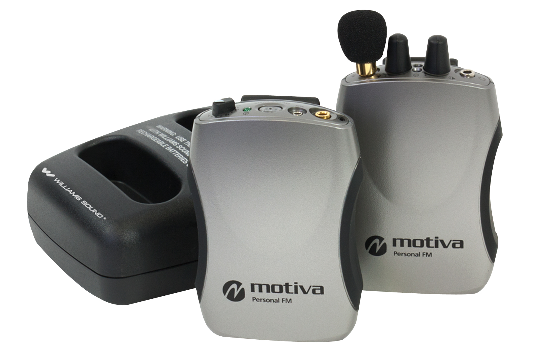 The Motiva Personal Amplification and FM system eliminates background noise and makes voices clearer in a variety of settings.